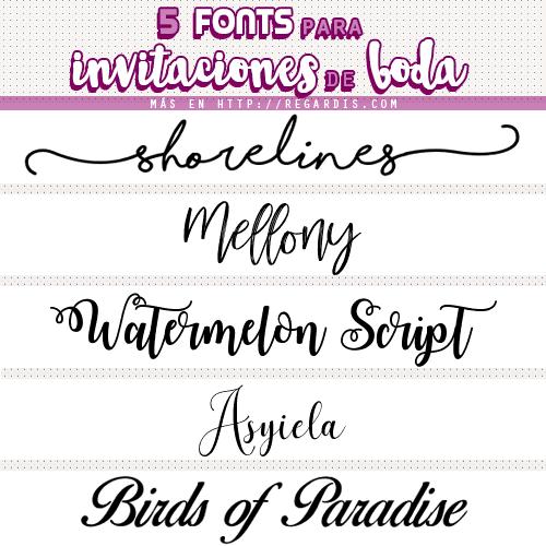 5 fonts para invitaciones de bodas gratis regardis