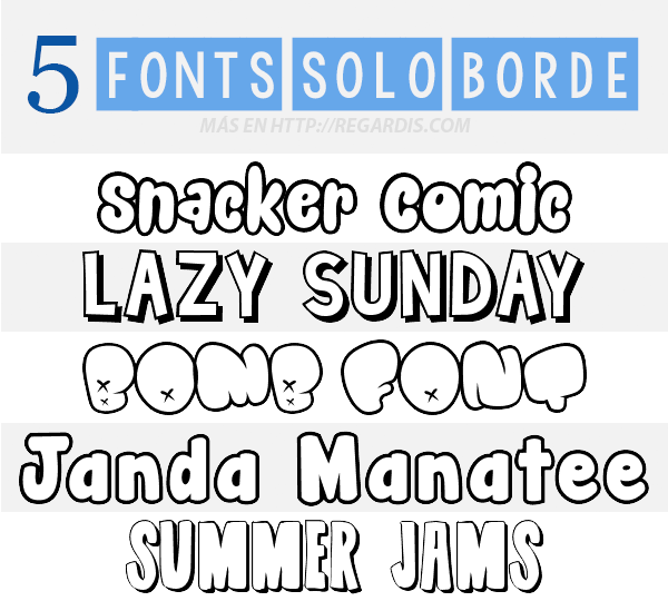 5 Fonts de solo Borde Gratis