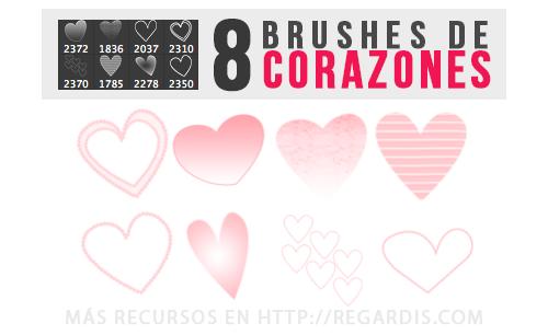8 Brushes de Corazones para Photoshop