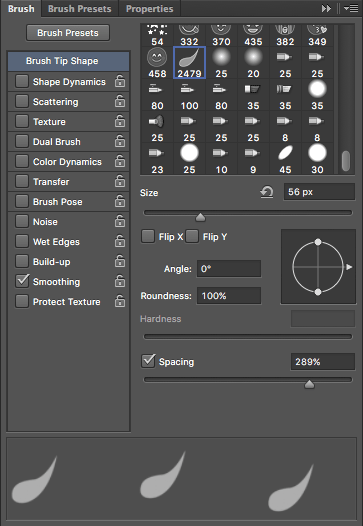 Propiedades de un brush o pincel en Photoshop