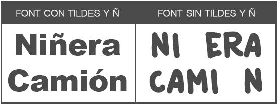 Fuentes o Fonts sin tilde ni ñ