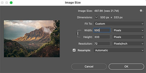 Especificar nuevo ancho en una imagen en Photoshop