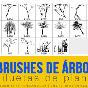 19 Brushes de Árboles + Siluetas de Plantas Gratis para Photoshop