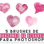 5 Brushes de Corazones de Acuarela