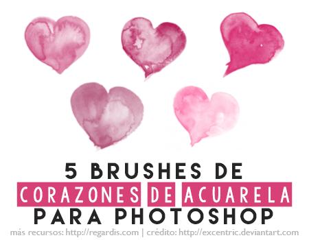 5 Brushes de Corazones de Acuarela para Photoshop Gratis