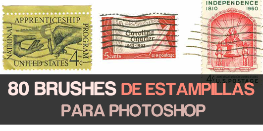 Descargar pinceles para Photoshop de estampillas