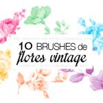 10 Brushes de Flores Vintage para Photoshop