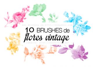 10 Brushes Gratis de Flores Vintage para Photoshop
