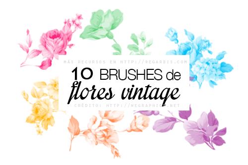 10 Brushes de Flores Vintage para Photoshop Gratis