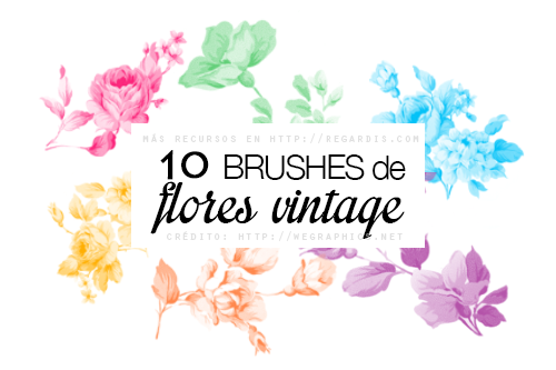 10 Brushes de Flores Vintage para Photoshop Gratis