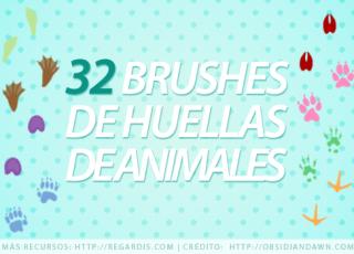 32 Brushes de Huellas de Animales
