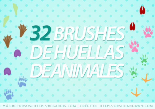 32 Brushes de Huellas de Animales