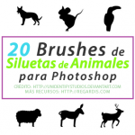 20 Brushes de Siluetas de Animales