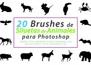 20 Brushes de Siluetas de Animales para Photoshop