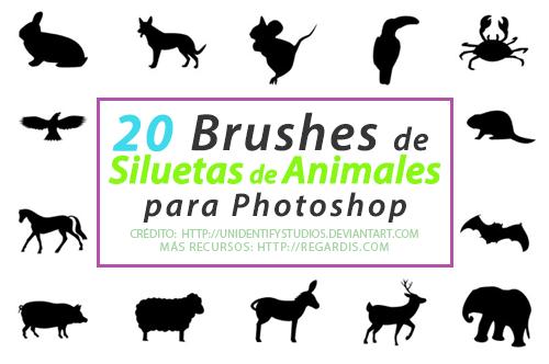 20 Brushes de  Siluetas de Animales para Photoshop