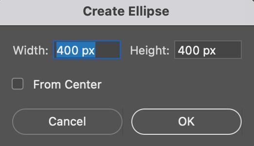 Especificar el tamaño del círculo en Photoshop
