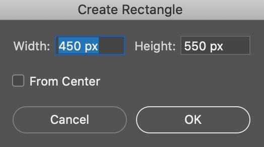 Ancho y altura de rectángulo en Photoshop