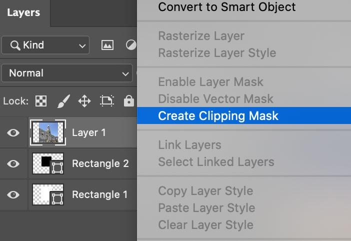 Crear máscara de recorte en collage de fotos en Photoshop