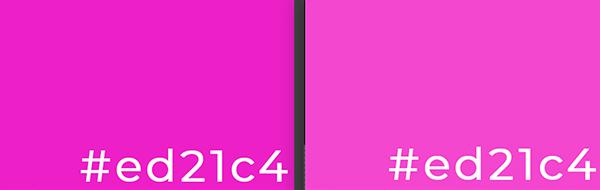 El mismo color se ve diferente en Photoshop