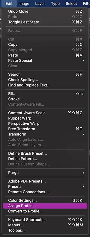 Edición > Asignar perfil para cambiar el perfil de color