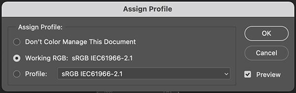 Asignar el perfil de color sRGB en Photoshop