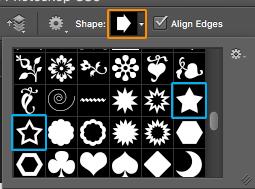 Barra de herramienta - Custom Shape Tool para hacer una estrella