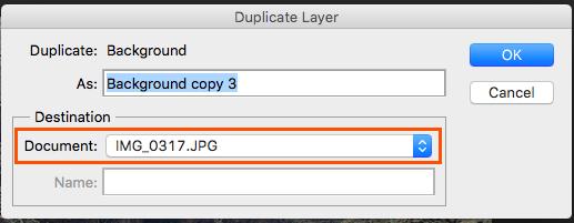 Duplicar capa en Photoshop en otro documento