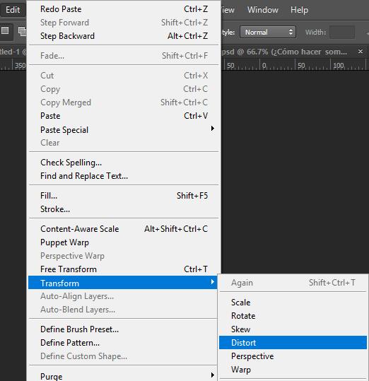 Edit > Transform > Distort en Photoshop