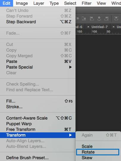 Edit > Transform > Rotate - Cómo rotar imagenes en Photoshop