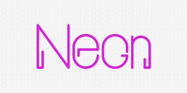 Texto con font de tipo neon