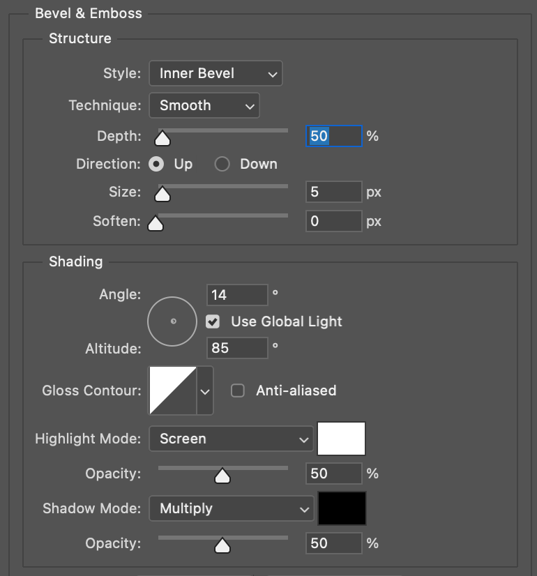 Bisel y Relieve para efecto Neon en Photoshop