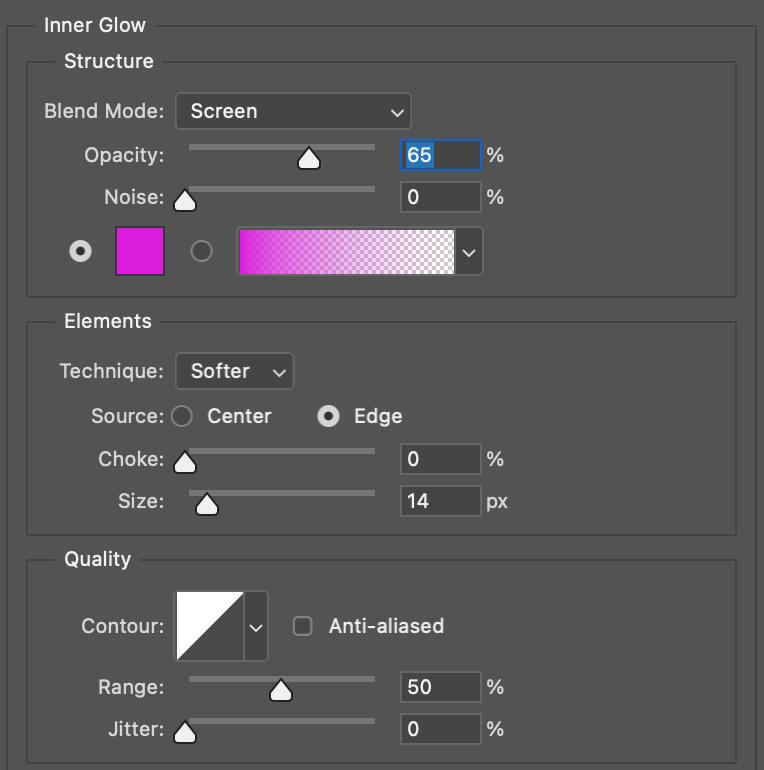 Resplandor Interno para efecto Neon en Photoshop