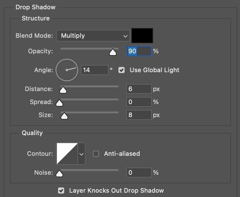 Sombra Paralela para efecto Neon en Photoshop