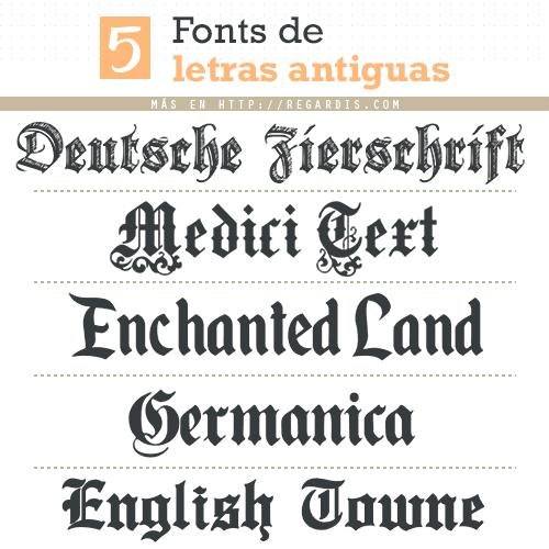 5 Fuentes de Letras Antiguas Gratis