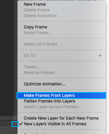 Make Frames from Layers en Photoshop para hacer GIF