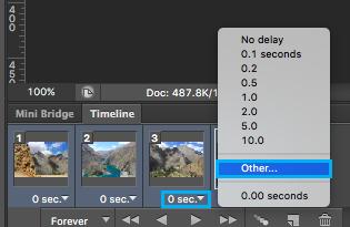 Cambiar tiempo de animación en Photoshop