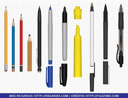 11 PNGs de Lápices, lapiceros y resaltadores