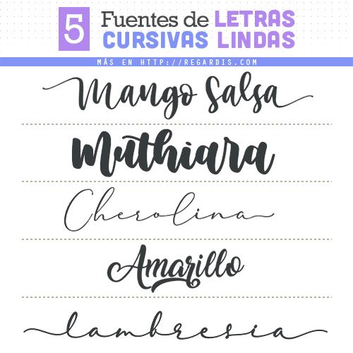 5 Fuentes de Letras Cursivas Lindas