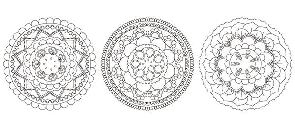 6 Mandalas Gratis de Flores Dibujadas a Mano