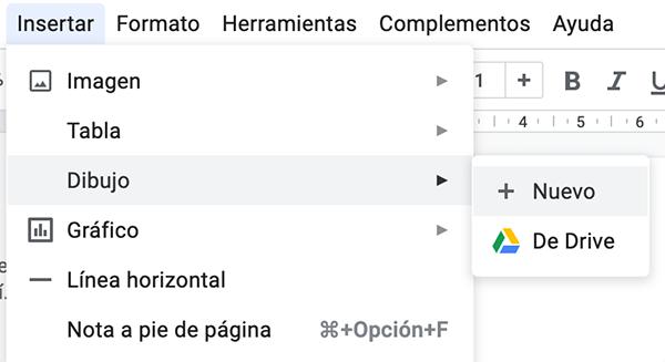 Insertar nuevo dibujo en Google Docs