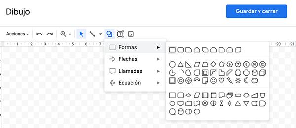 Insertar formas: rectángulo en Google Docs
