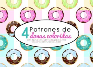 4 Patrones de Donas Coloridas Gratis para Photoshop