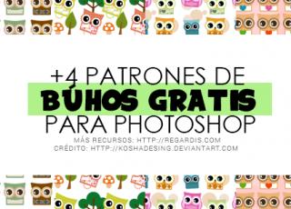4 Patrones de Búhos gratis para Photoshop (.PAT)
