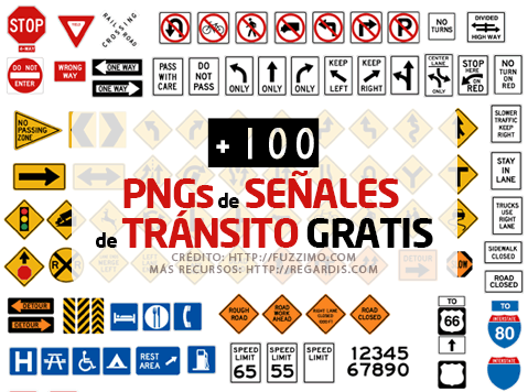 +100 PNGs de Señales de Tránsito Gratis