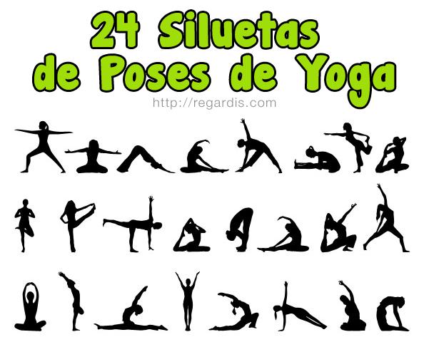 24 Siluetas de Poses de Yoga