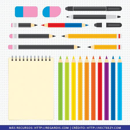 23 PNGs de Útiles de Arte: Lápices, Colores, Borrador, Fine Pen