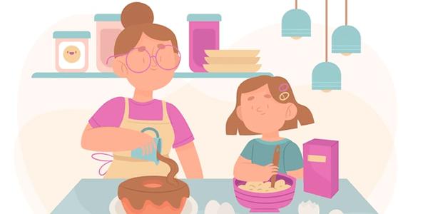 Vectores Día de La Madre - Madre cocinando con hija
