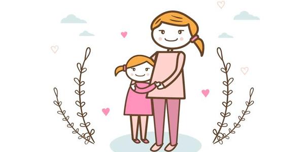 Vectores Día de La Madre - Madre con su hija abrazadas
