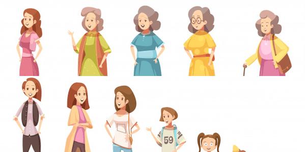 Vectores Día de La Madre - Diferentes generaciones